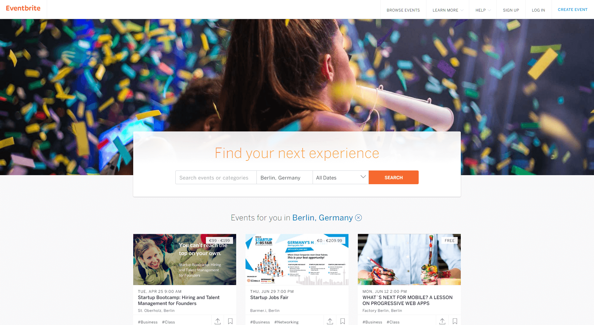 Eventbrite Events management for coworking spaces